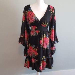 Betsey Johnson Floral Bell Sleeve Dress